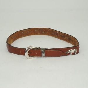 Vintage Safari Animals Tan Leather Belt